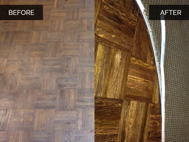 Parquet Wood Floor Before and After