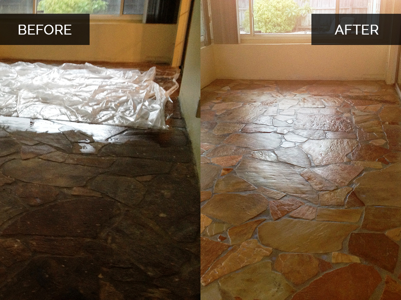 Stone Floor Cleaning Before After
