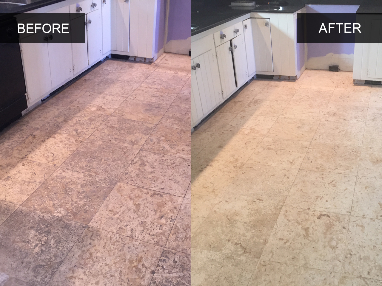 Travertine Floor Cleaning | Before and After