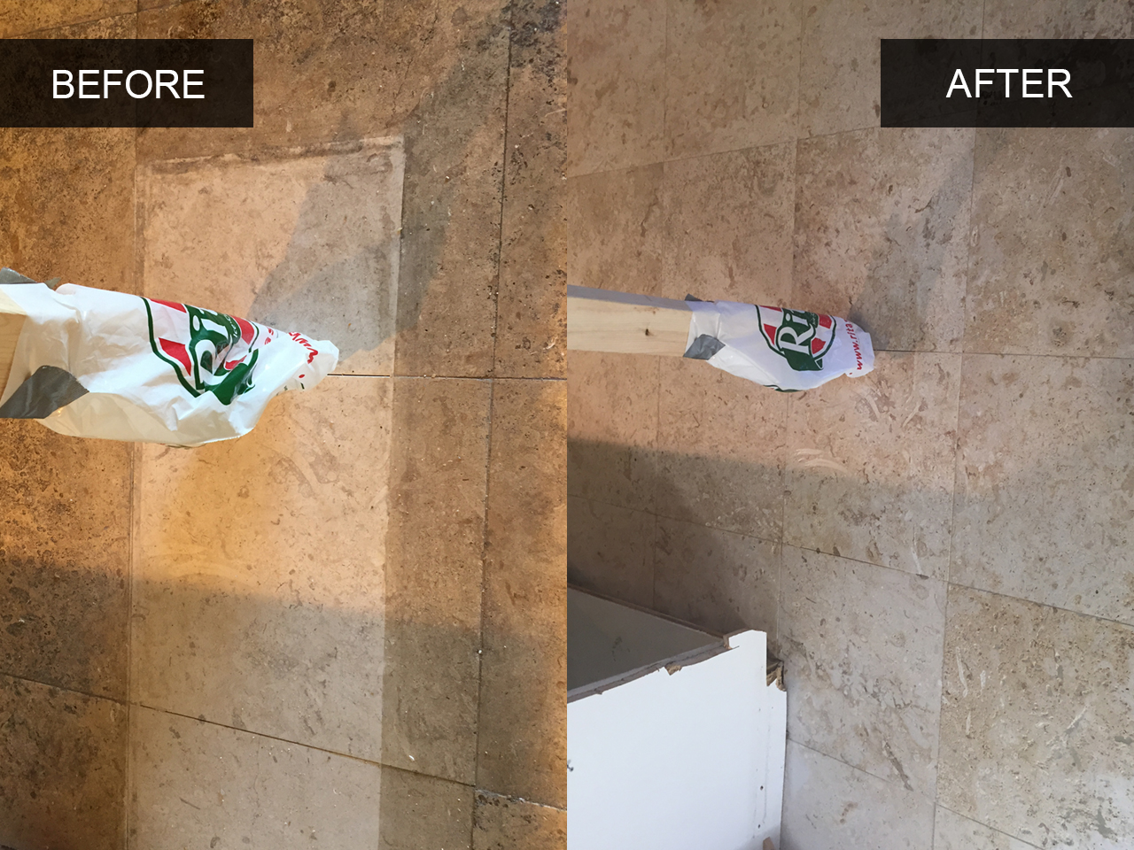 Kitchen Travertine Tile Cleaning Before and After