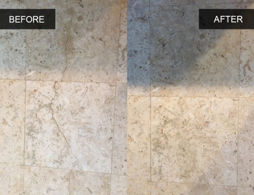 Cracked Travertine Tile Cleaning Before and After